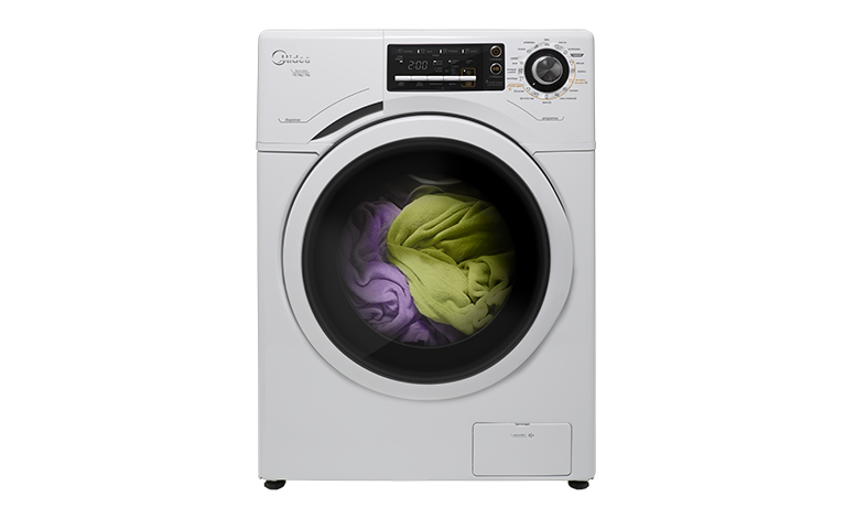 Lava e Seca Midea Frente com roupa